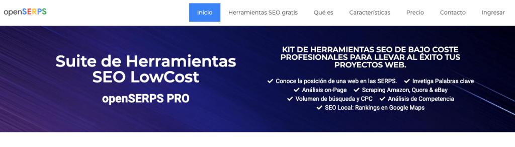 Página de inicio de OpenSerps